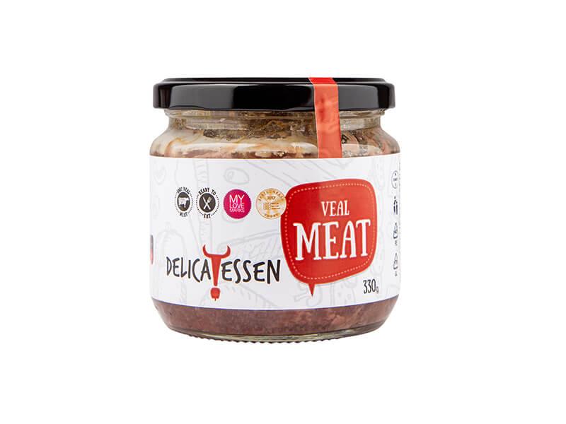 малък стъклен буркан с телешко месо, консерирано в собствен сос богато на протеини подгодящо за готвене на различни рецепти с телешко месо